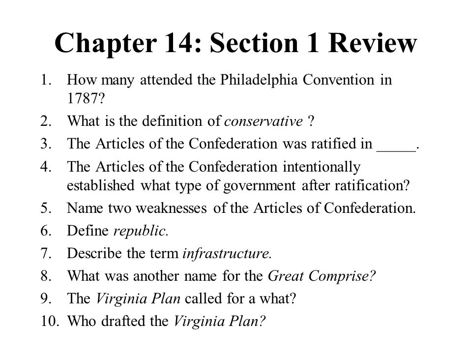 Chapter 14: Section 1 Review