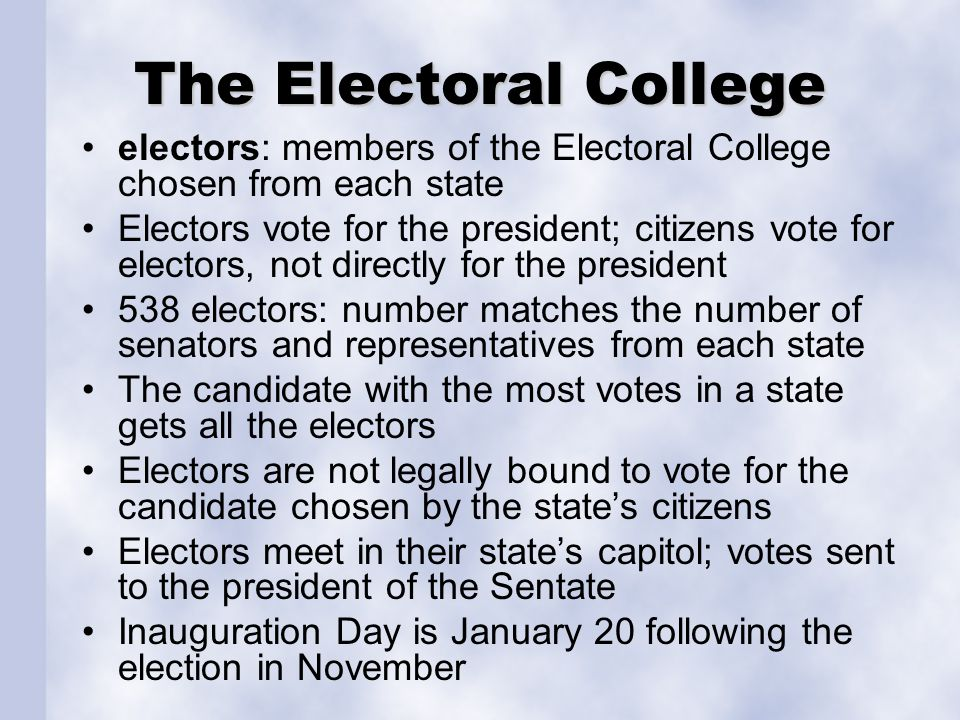 The Electoral College electors: members of the Electoral College chosen from each state.