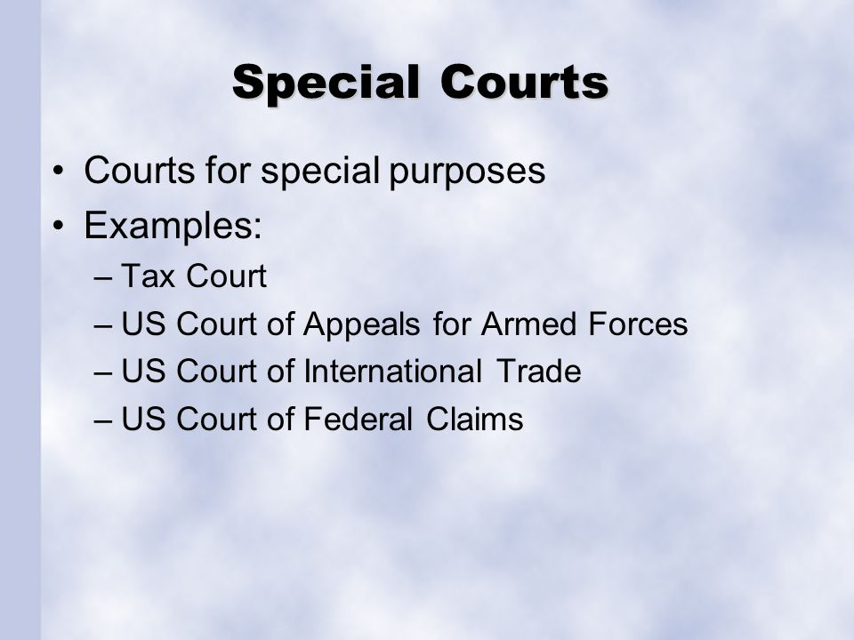 Special Courts Courts for special purposes Examples: Tax Court
