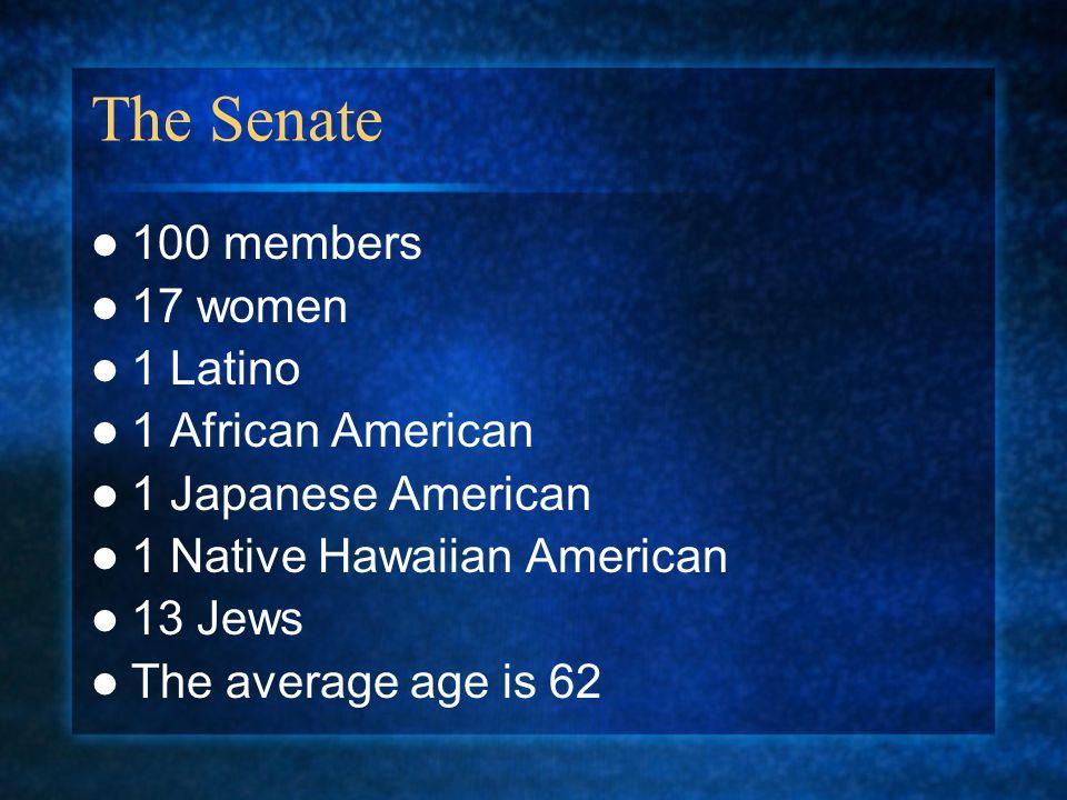 The Senate 100 members 17 women 1 Latino 1 African American