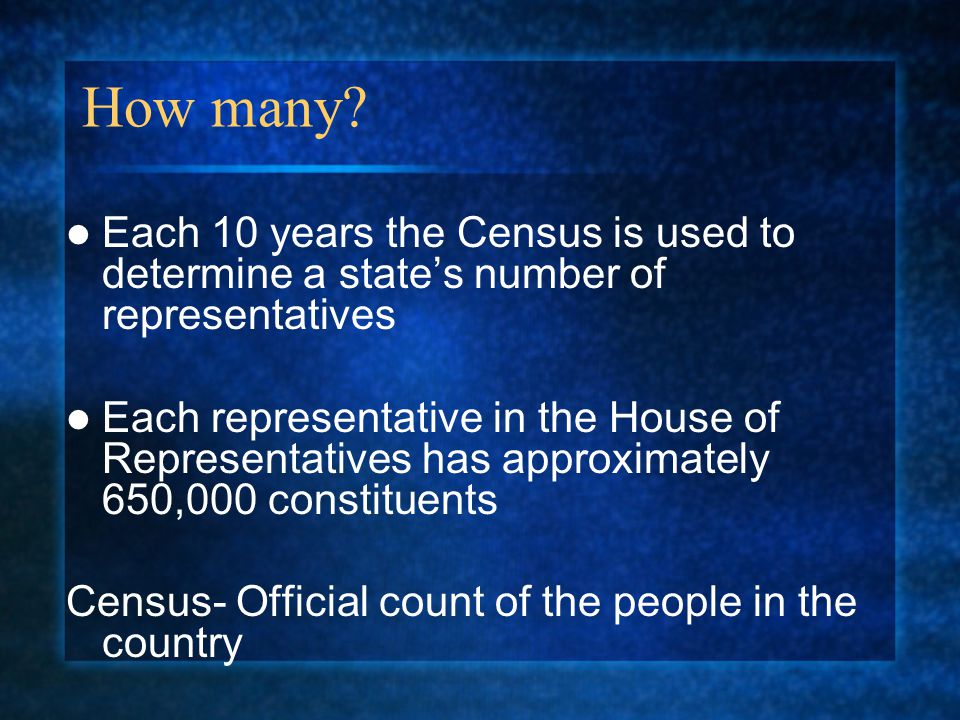 How many Each 10 years the Census is used to determine a state's number of representatives.