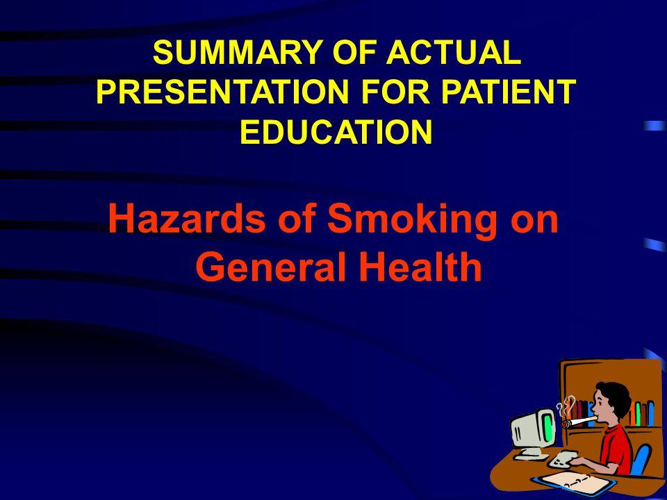 Hazards of Smoking on General Health