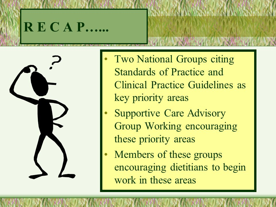R E C A P…... Two National Groups citing Standards of Practice and Clinical Practice Guidelines as key priority areas.