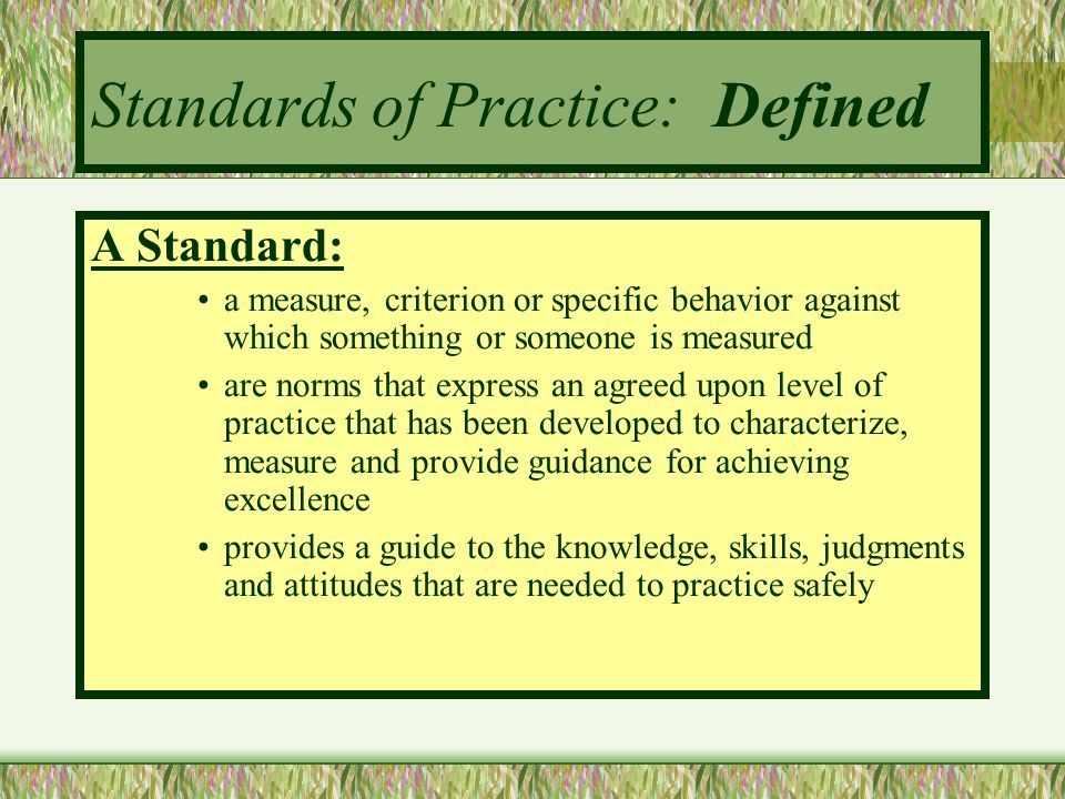 Standards of Practice: Defined