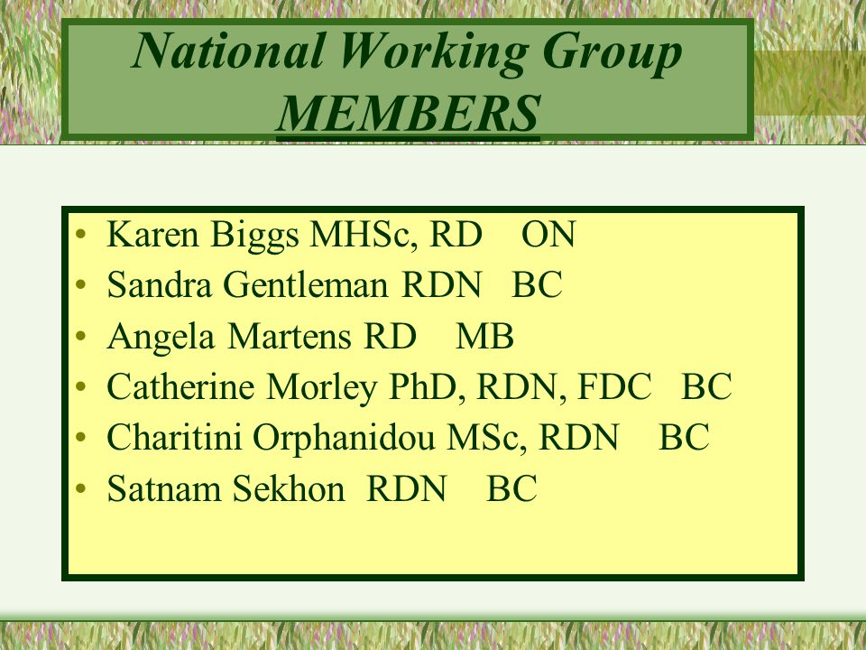 National Working Group MEMBERS