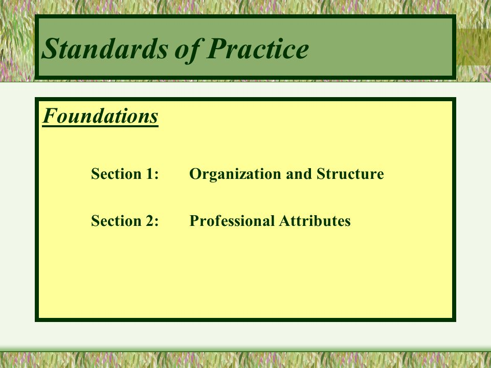 Standards of Practice Foundations