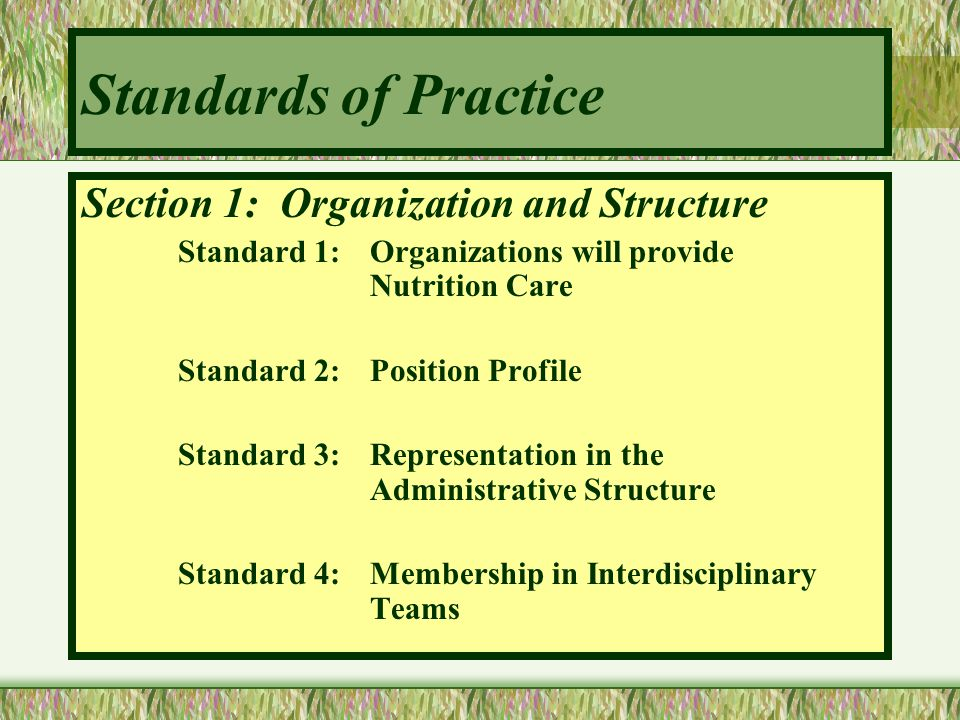 Standards of Practice Section 1: Organization and Structure