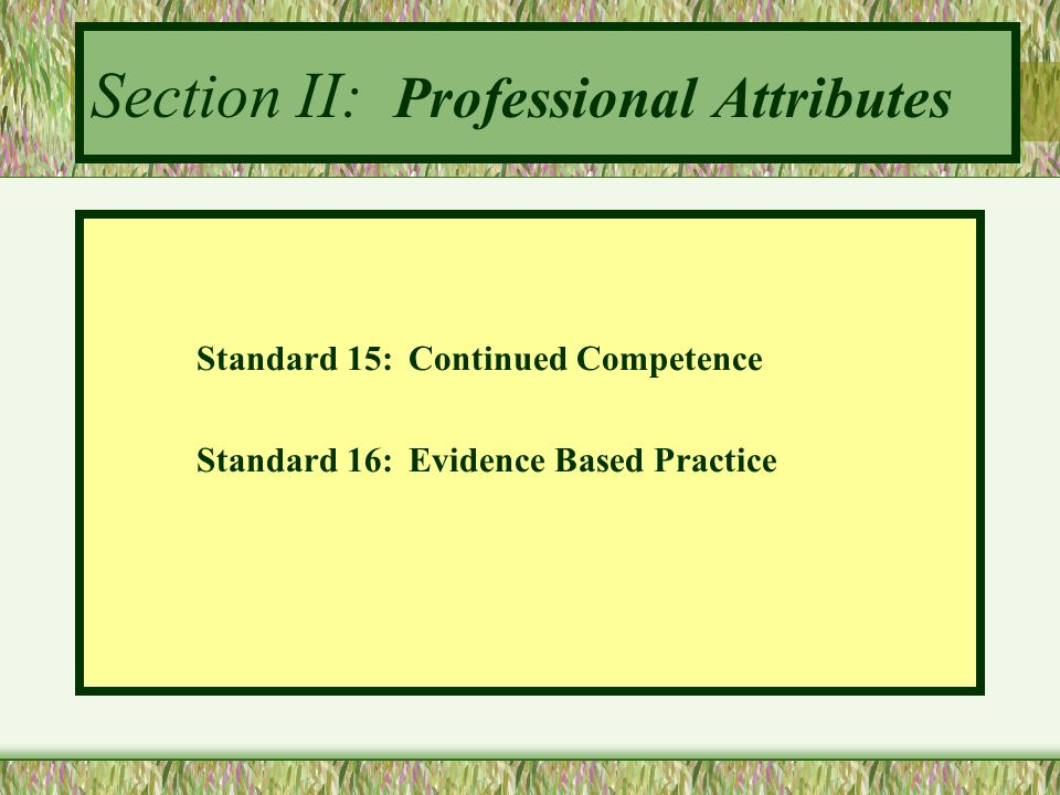 Section II: Professional Attributes