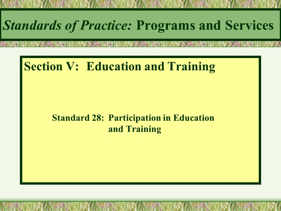 Standards of Practice: Programs and Services