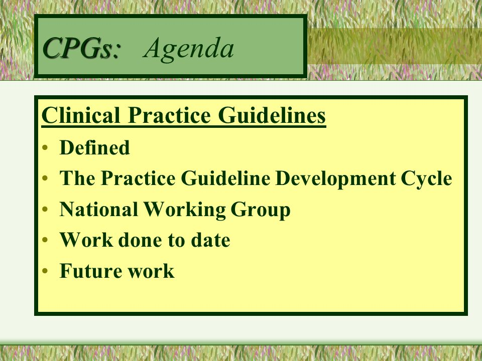 CPGs: Agenda Clinical Practice Guidelines Defined