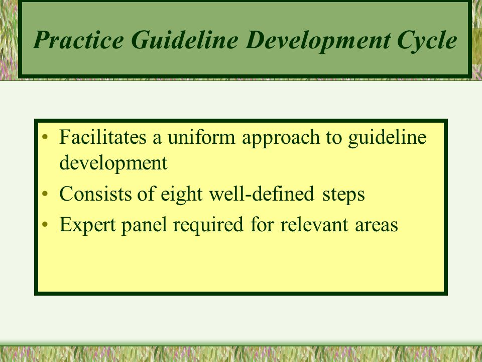 Practice Guideline Development Cycle