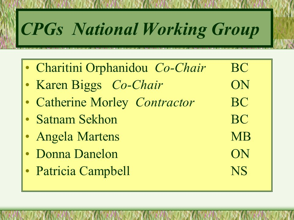 CPGs National Working Group