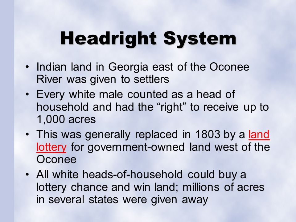 Headright System Indian land in Georgia east of the Oconee River was given to settlers.