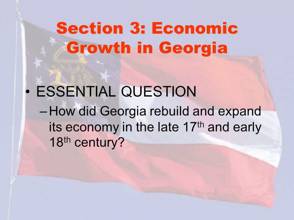 Section 3: Economic Growth in Georgia