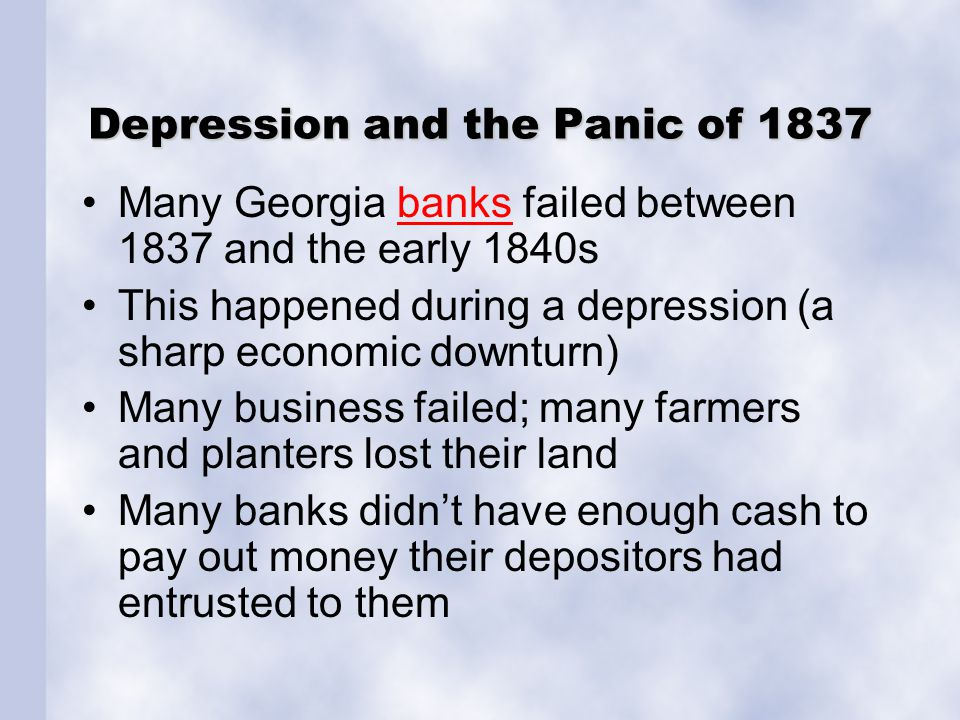 Depression and the Panic of 1837