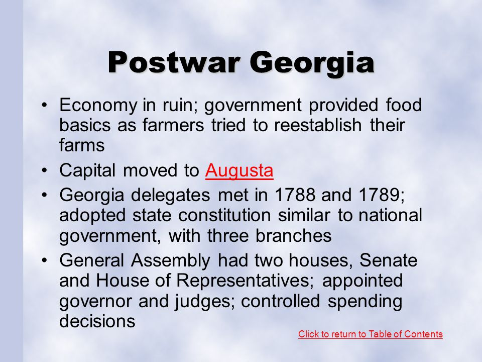 Postwar Georgia Economy in ruin; government provided food basics as farmers tried to reestablish their farms.