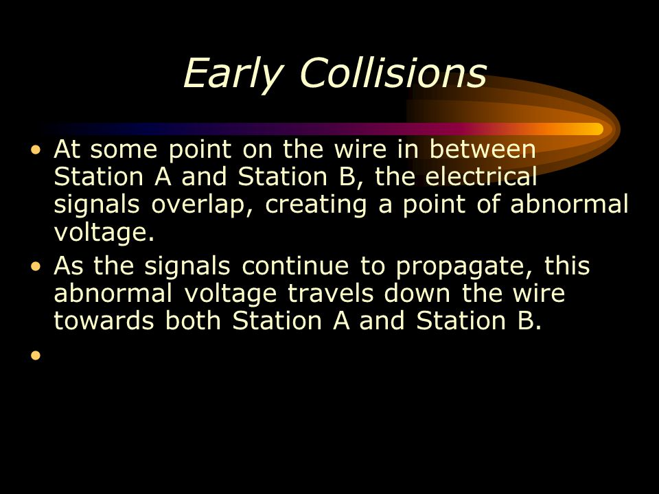 Early Collisions At some point on the wire in between Station A and Station B, the electrical signals overlap, creating a point of abnormal voltage.