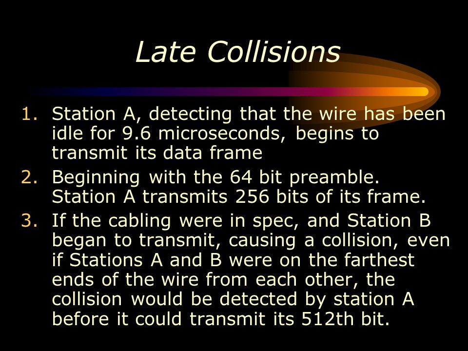 Late Collisions Station A, detecting that the wire has been idle for 9.6 microseconds, begins to transmit its data frame.