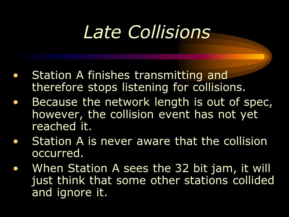 Late Collisions Station A finishes transmitting and therefore stops listening for collisions.