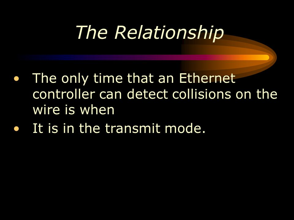 The Relationship The only time that an Ethernet controller can detect collisions on the wire is when.