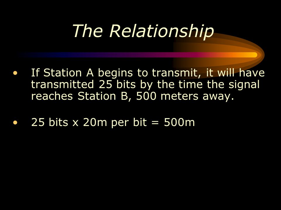 The Relationship If Station A begins to transmit, it will have transmitted 25 bits by the time the signal reaches Station B, 500 meters away.
