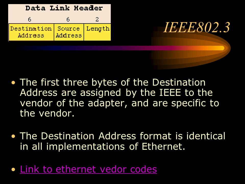IEEE802.3 The first three bytes of the Destination Address are assigned by the IEEE to the vendor of the adapter, and are specific to the vendor.
