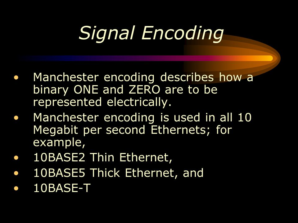 Signal Encoding Manchester encoding describes how a binary ONE and ZERO are to be represented electrically.