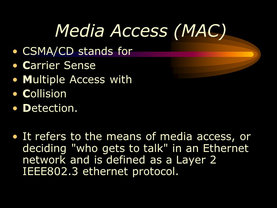 Media Access (MAC) CSMA/CD stands for Carrier Sense