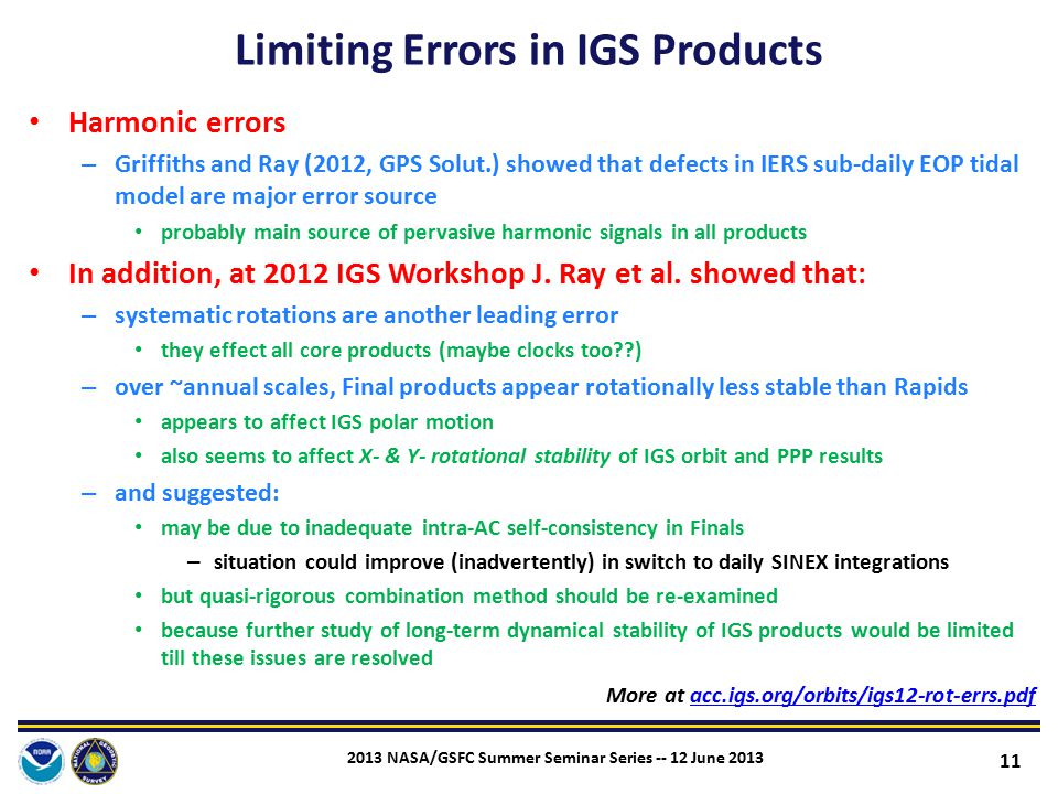 Limiting Errors in IGS Products