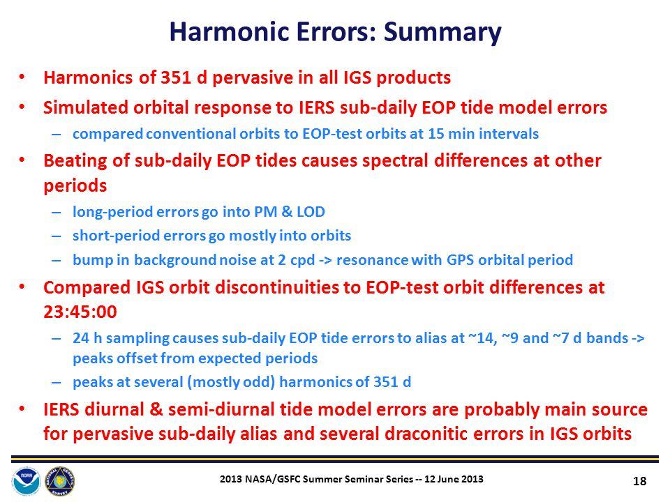 Harmonic Errors: Summary