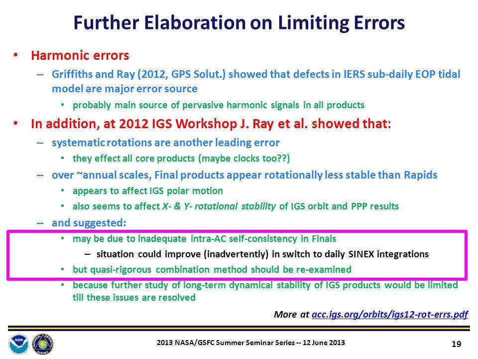 Further Elaboration on Limiting Errors