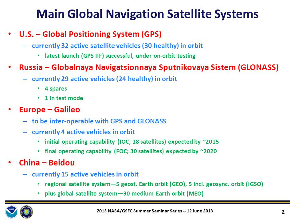 Main Global Navigation Satellite Systems