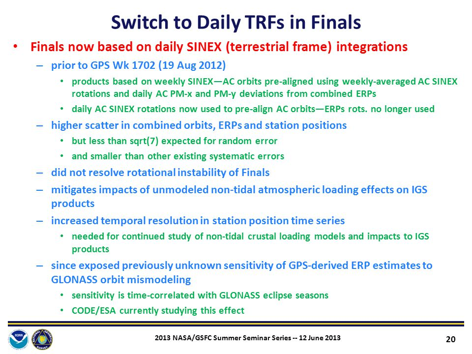 Switch to Daily TRFs in Finals