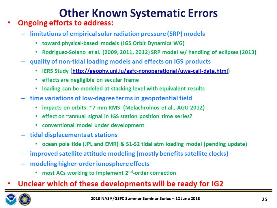 Other Known Systematic Errors