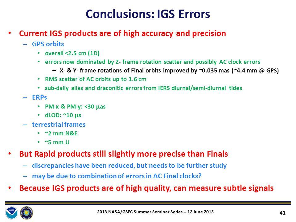 Conclusions: IGS Errors