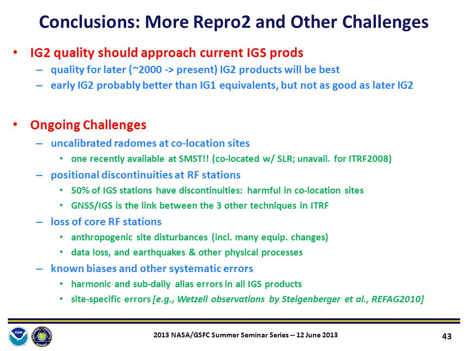 Conclusions: More Repro2 and Other Challenges