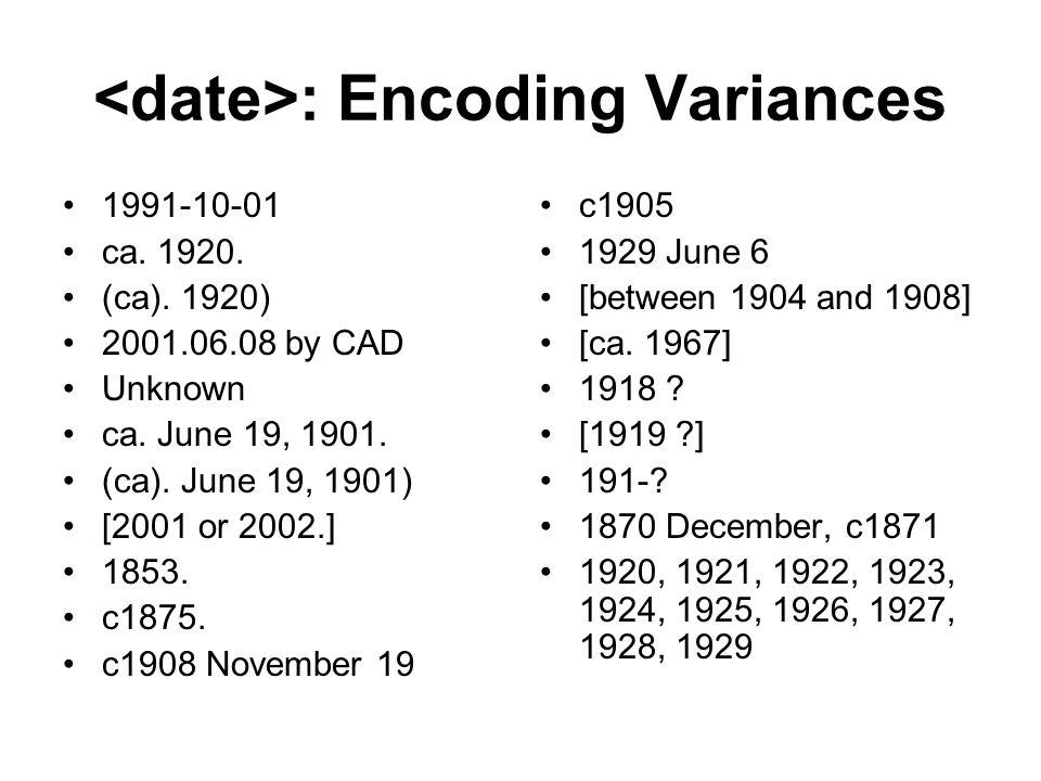 <date>: Encoding Variances