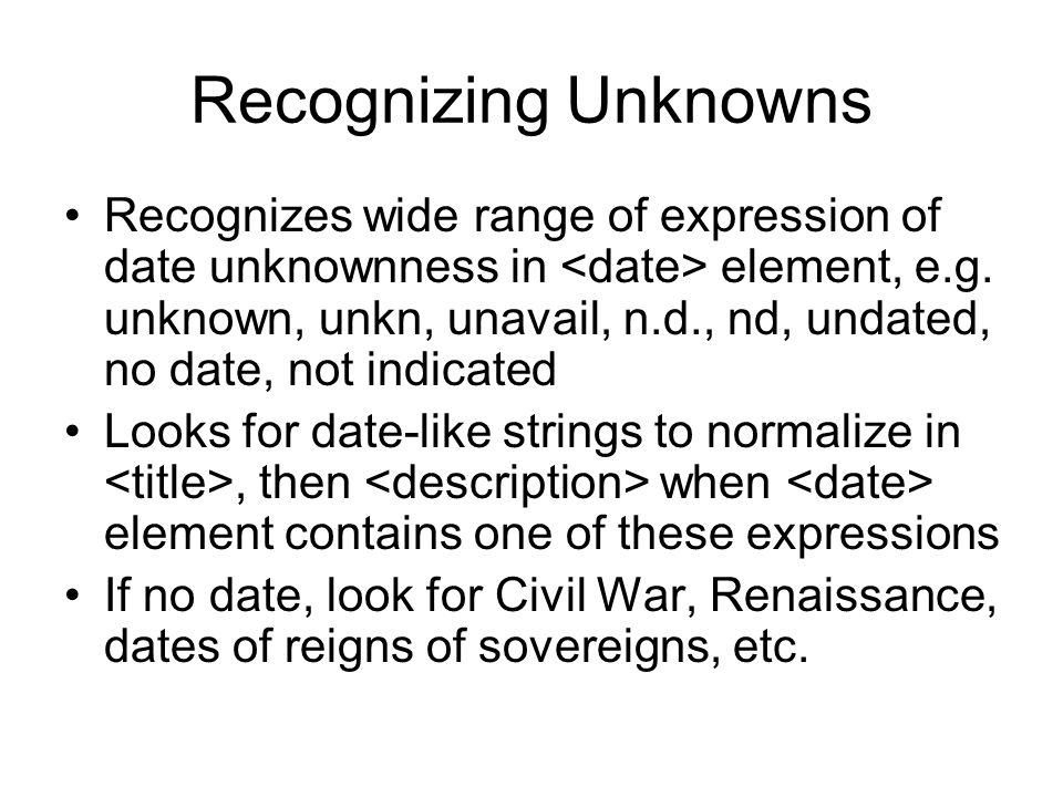 Recognizing Unknowns