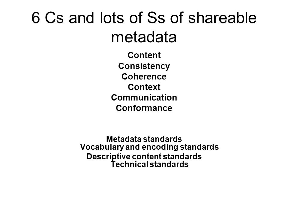 6 Cs and lots of Ss of shareable metadata