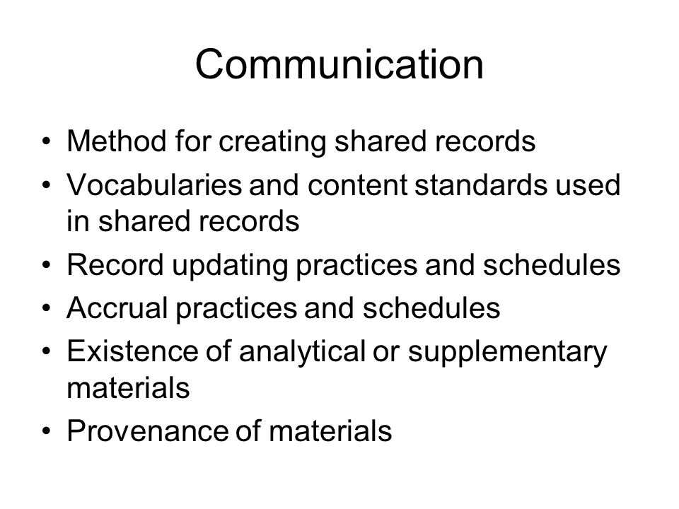 Communication Method for creating shared records