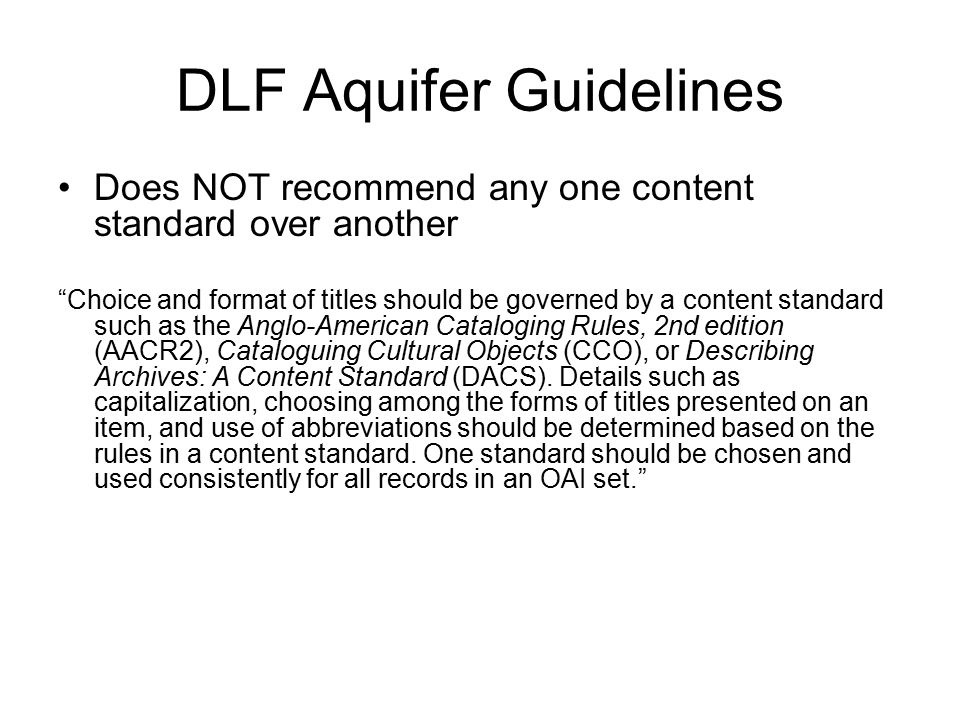 DLF Aquifer Guidelines