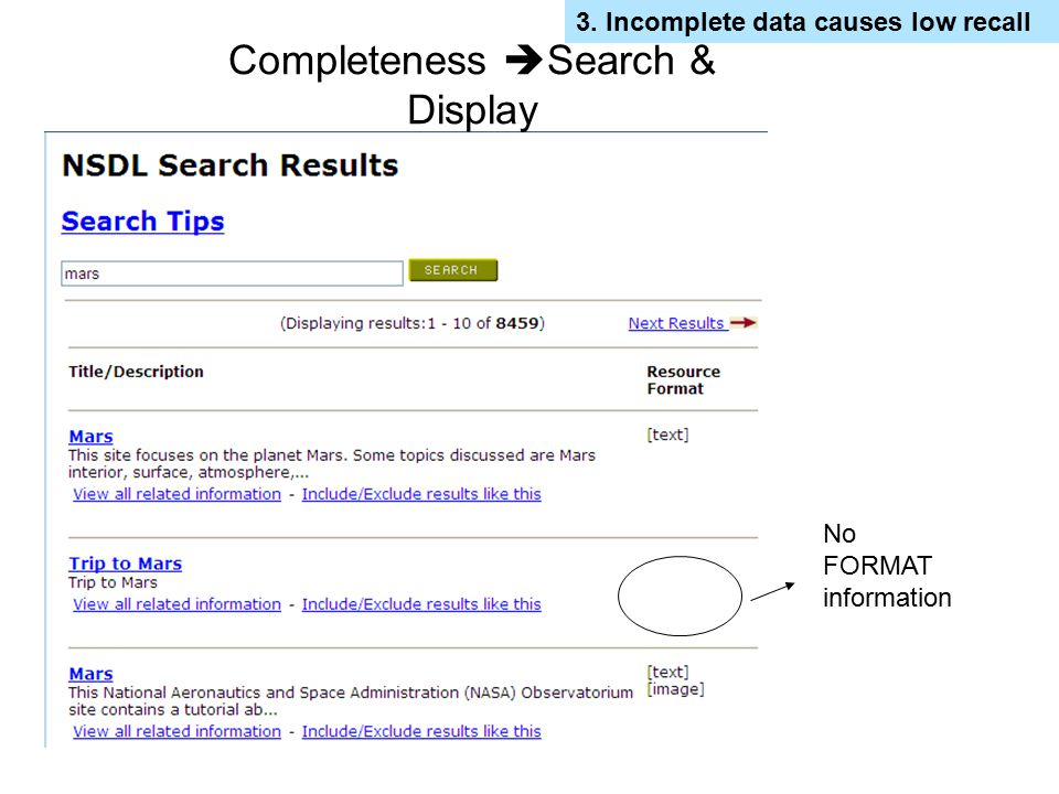 Completeness Search & Display
