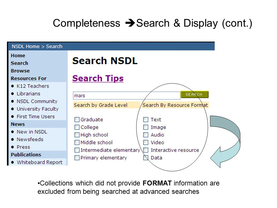 Completeness Search & Display (cont.)