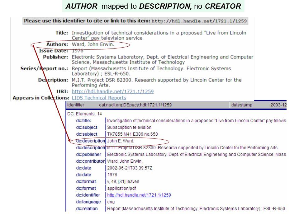 AUTHOR mapped to DESCRIPTION, no CREATOR