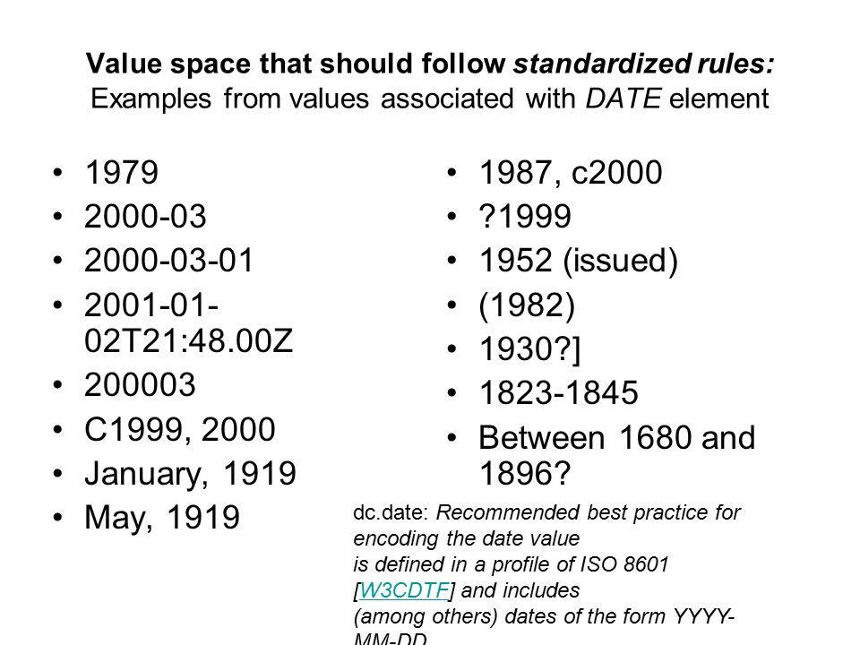 Value space that should follow standardized rules: Examples from values associated with DATE element