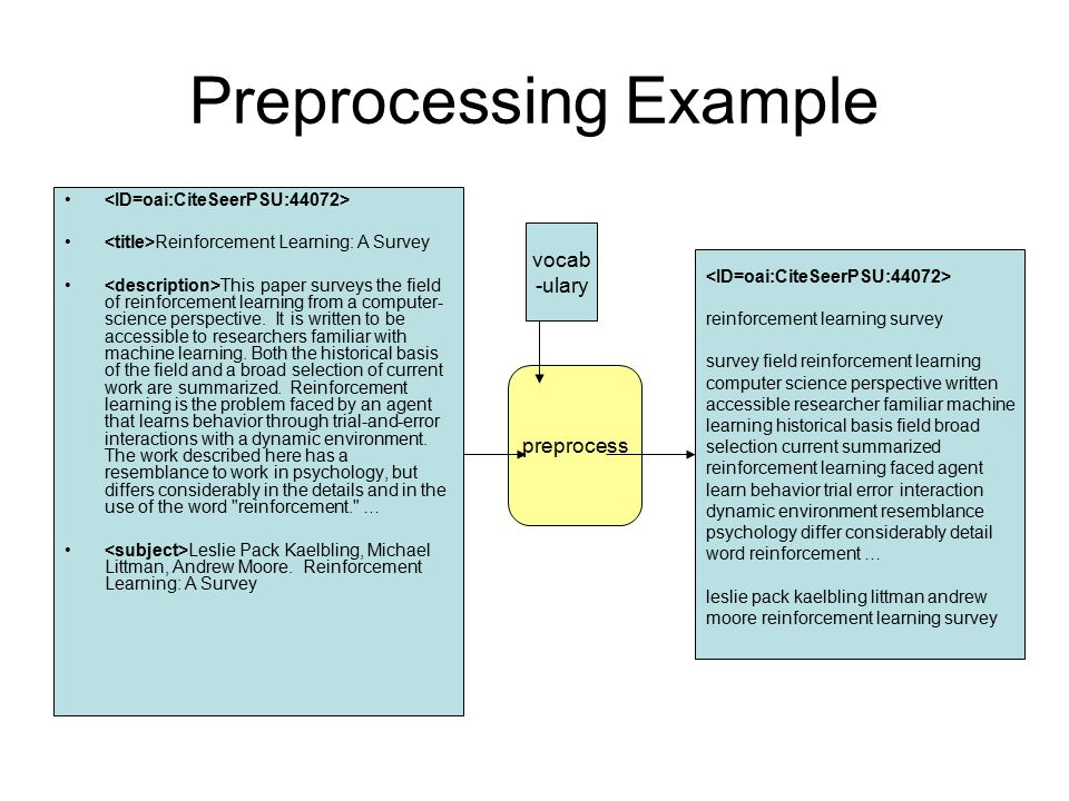 Preprocessing Example