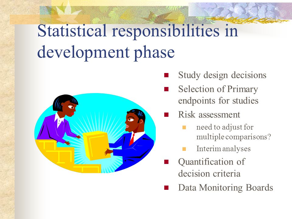 Statistical responsibilities in development phase