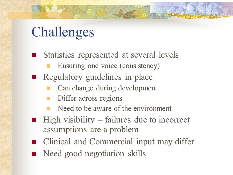 Challenges Statistics represented at several levels