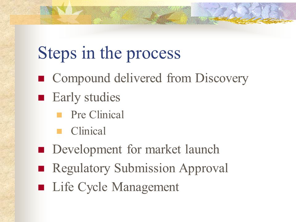 Steps in the process Compound delivered from Discovery Early studies