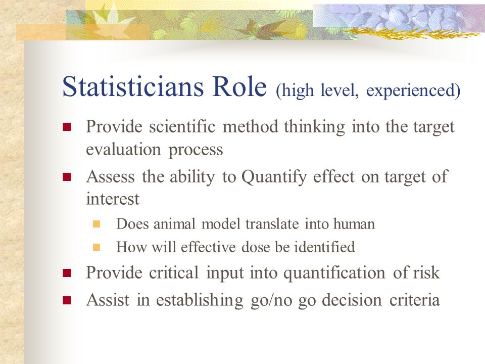 Statisticians Role (high level, experienced)